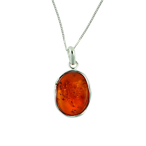 Buy Be-Jewelled Sterling Silver Amber Free Form Pendant Necklace, Orange Online at johnlewis.com