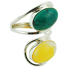 Buy Be-Jewelled Oval Yellow Amber & Turquoise Adjustable Ring, Blue/Yellow Online at johnlewis.com