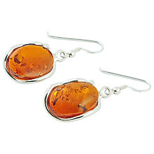 Buy Be-Jewelled Sterling Silver Free Form Oval Amber Drop Earrings, Orange Online at johnlewis.com