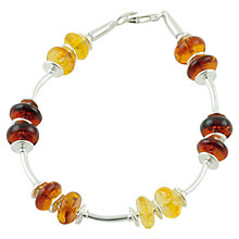 Buy Be-Jewelled Sterling Silver Amber Bead Bracelet, Orange/Yellow Online at johnlewis.com