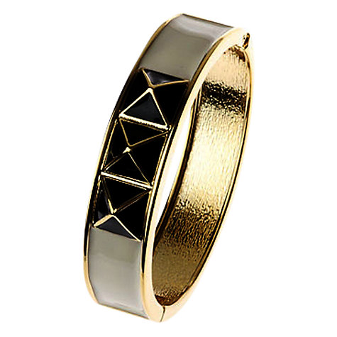 Buy Adele Marie Enamel Cross Detail Hinged Bangle, Gold/Black Online at johnlewis.com