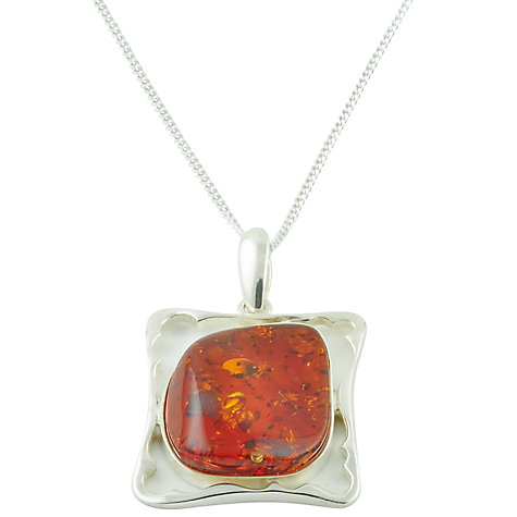 Buy Be-Jewelled Sterling Silver Square Frame Style Amber Stone Pendant Necklace, Orange Online at johnlewis.com