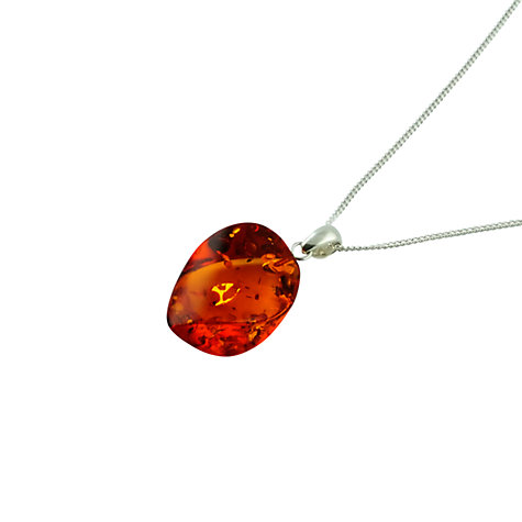 Buy Be-Jewelled Sterling Silver and Jensen Cut Amber Pendant Necklace, Orange Online at johnlewis.com