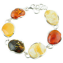 Buy Be-Jewelled Sterling Silver Free Form Multi-Coloured Amber Bracelet, Orange/Yellow Online at johnlewis.com