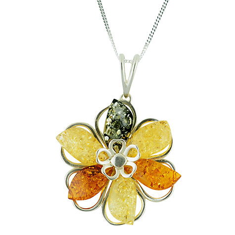 Buy Be-Jewelled Sterling Silver Multi-Colour Amber Flower Pendant Necklace, Yellow/Orange Online at johnlewis.com