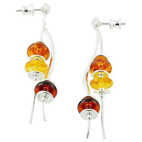 Buy Be-Jewelled Sterling Silver Multicoloured Amber Drop Stud Earrings, Yellow/Orange Online at johnlewis.com