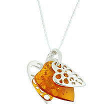 Buy Be-Jewelled Sterling Silver Openwork Heart Shape Amber Style Pendant Necklace, Orange Online at johnlewis.com
