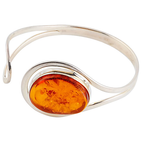 Buy Be-Jewelled Sterling Silver Oval Cognac Amber Curved Bangle, Orange/Silver Online at johnlewis.com