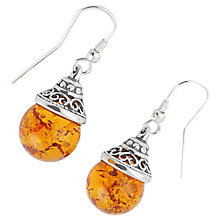 Buy Be-Jewelled Sterling Silver Amber Ball Drop Earrings, Orange Online at johnlewis.com