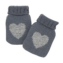 Buy John Lewis Knit Heart Print Handwarmers, Grey Online at johnlewis.com