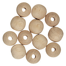 Buy John Lewis Wooden Beads, Pack of 12, Beech Online at johnlewis.com