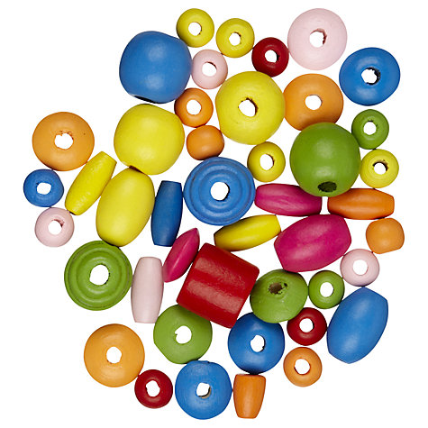 Buy John Lewis Assortment of Wooden Beads, 20g, Multi Online at johnlewis.com
