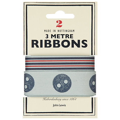 Buy John Lewis Heritage 3m Ribbon, Pack of 2, Stripes and Buttons Online at johnlewis.com
