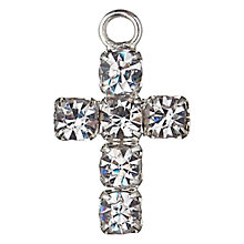 Buy Groves A La Mode Charm, Diamante Cross, Silver Online at johnlewis.com