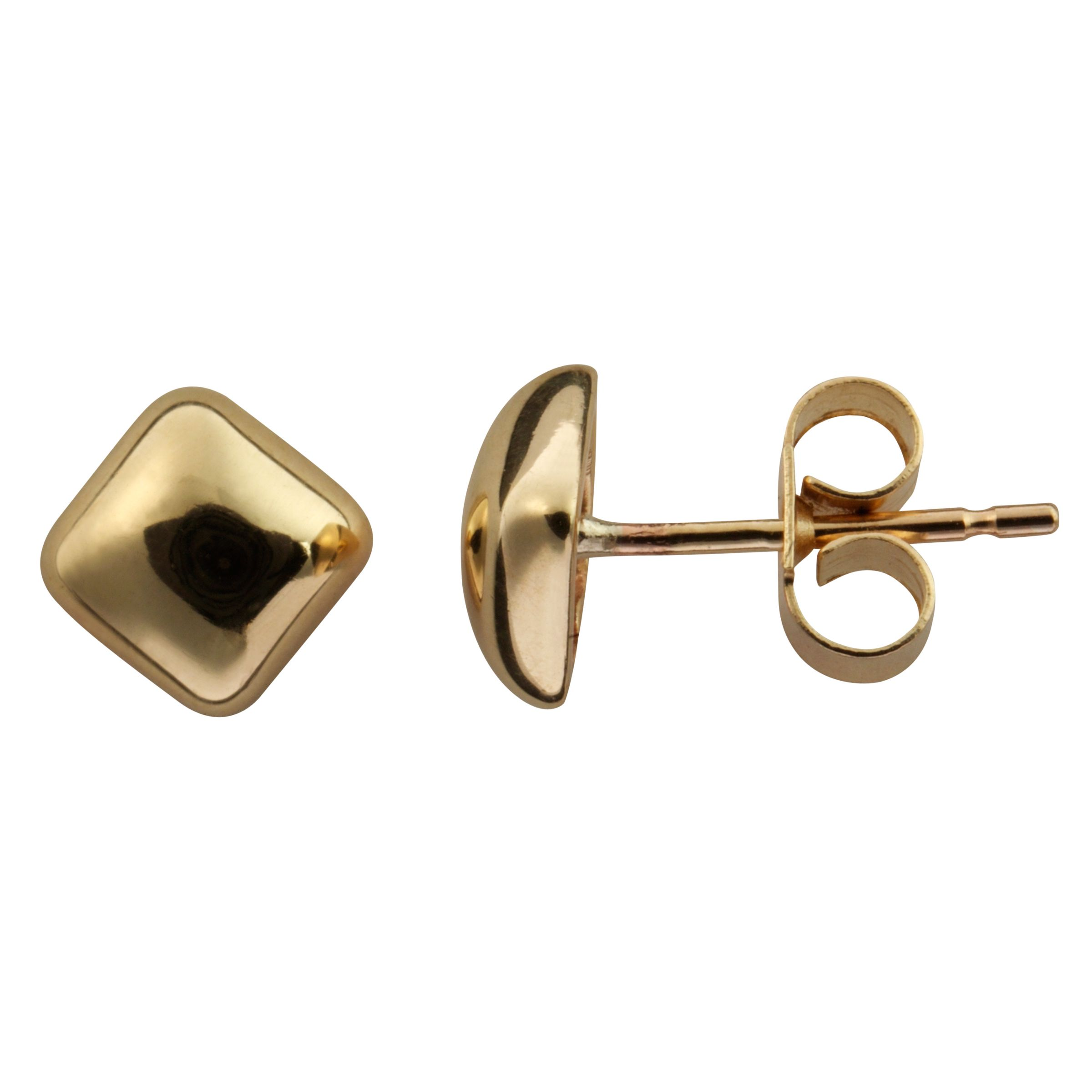 Nina Breddal Yellow Gold Square Stud Earrings, Gold