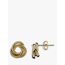 Buy Nina Breddal Yellow Gold Swirl Stud Earrings, Gold Online at johnlewis.com