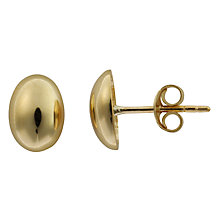 Buy Nina Breddal Yellow Gold Oval Stud Earrings, Gold Online at johnlewis.com