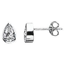 Buy Nina Breddal White Gold Cubic Zirconia Pear-Shaped Stud Earrings Online at johnlewis.com