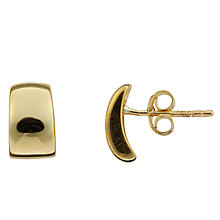 Buy Nina Breddal 9ct Yellow Gold Concave Rectangle Stud Earrings, Gold Online at johnlewis.com
