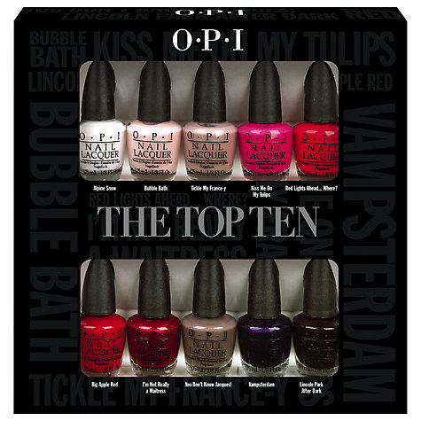 Buy OPI The Top Ten Nail Lacquer Collection, 10 x 3.75ml Online at johnlewis.com