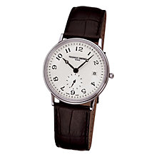 Buy Frédérique Constant FC-245AS4S6 Men's Slim Line White Dial Leather Strap Watch, Brown Online at johnlewis.com