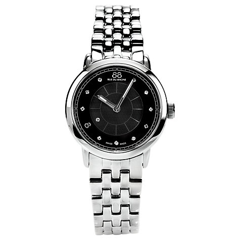 Buy 88 Rue Du Rhone 87WA120003 Women's Diamond Set Black Dial Bracelet Watch, Silver/Black Online at johnlewis.com