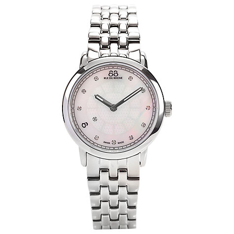 Buy 88 Rue Du Rhone 87WA120005 Women's Mother Of Pearl Diamond Bracelet Watch, Silver Online at johnlewis.com