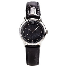 Buy 88 Rue Du Rhone 87WA120006 Women's Diamond Set Black Dial Leather Strap Watch, Black/Silver Online at johnlewis.com