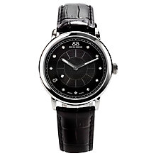 Buy 88 Rue Du Rhone 87WA120020 Women's Large Black Diamond Set Dial Leather Strap Watch, Black/Silver Online at johnlewis.com