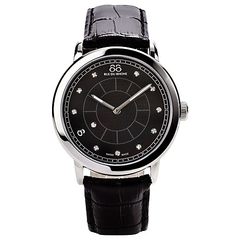 Buy 88 Rue Du Rhone 87WA120026 Men's Black Diamond Set Dial Leather Strap Watch, Black Online at johnlewis.com