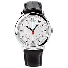 Buy 88 Rue Du Rhone 87WA120027 Men's Leather Strap Watch, Black/Silver Online at johnlewis.com