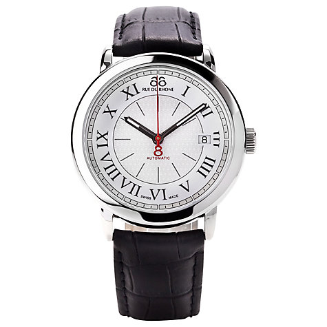 Buy 88 Rue Du Rhone 87WA120033 Men's Roman Numeral Leather Strap Watch, Black/Silver Online at johnlewis.com