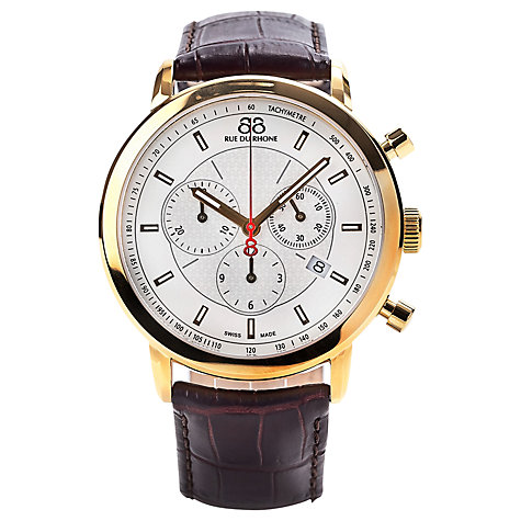 Buy 88 Rue Du Rhone 87WA120045 Men's Chronograph Leather Strap Watch, Brown/White Online at johnlewis.com