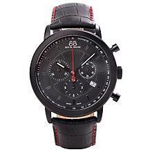 Buy 88 Rue Du Rhone 87WA120046 Men's Chronograph Contrast Stitch Leather Strap Watch, Black Online at johnlewis.com