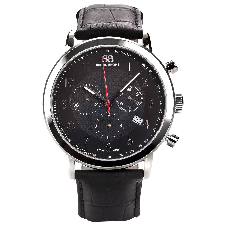 88 Rue Du Rhone 88 Rue Du Rhone 87WA120047 Men's Chronograph Leather Strap Watch, Black