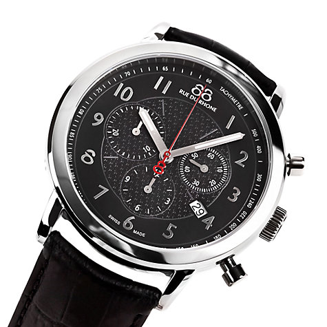 Buy 88 Rue Du Rhone 87WA120047 Men's Silver Bezel Chronograph Leather Strap Watch, Black/Silver Online at johnlewis.com