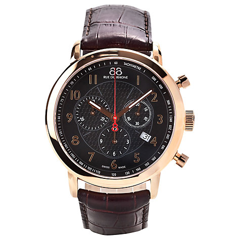 Buy 88 Rue Du Rhone 87WA120050 Men's Black Dial Chronograph Leather Strap Watch, Brown / Gold Online at johnlewis.com