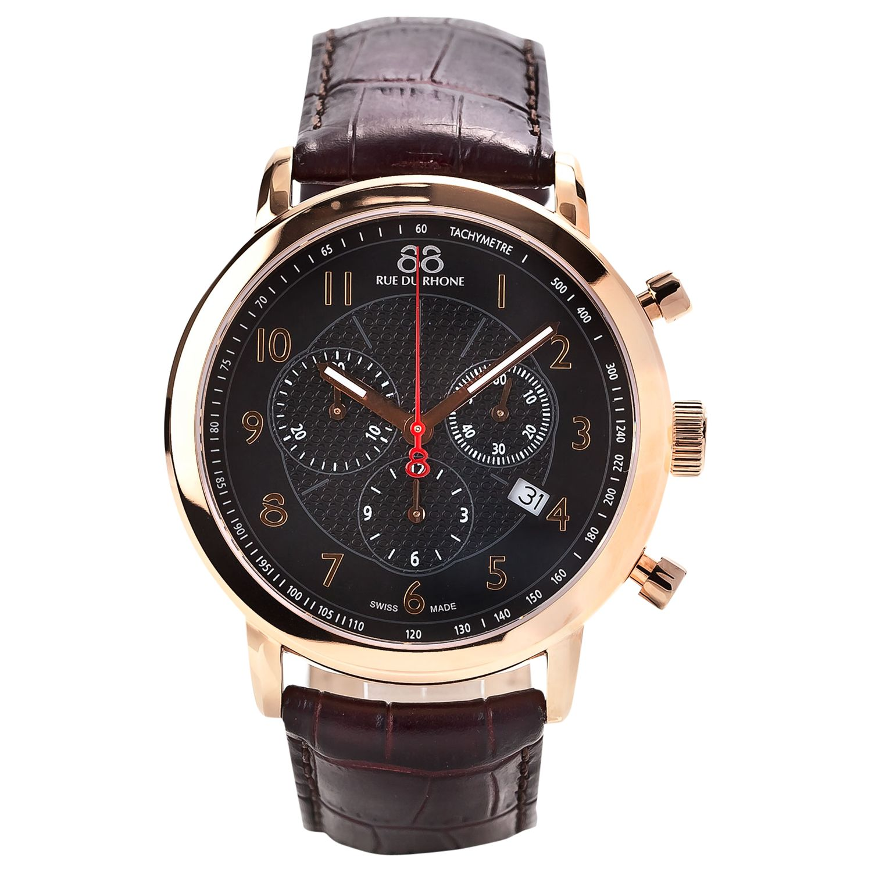 88 Rue Du Rhone 88 Rue Du Rhone 87WA120050 Men's Chronograph Leather Strap Watch, Brown/Black