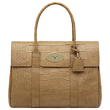 Buy Mulberry Bayswater Soft Croc Print Leather Shoulder Handbag, Biscuit Online at johnlewis.com