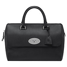 Buy Mulberry Del Rey Nickel Grainy Leather Grab Handbag, Black Online at johnlewis.com