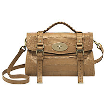 Buy Mulberry Alexa Soft Croc Print Leather Messenger & Shoulder Handbag, Biscuit Online at johnlewis.com