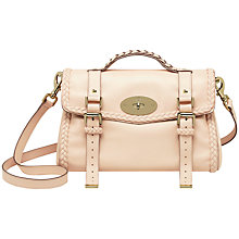 Buy Mulberry Alexa with Woven Trim Leather Messenger & Shoulder Handbag, Creamy Pink Online at johnlewis.com