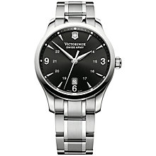 Buy Victorinox 241473 Men's Alliance Bracelet Strap Watch, Silver/Black Online at johnlewis.com