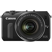 "Buy Canon EOS M Compact System Camera with 18-55mm EF-M Lens, HD 1080p, 18MP, 3"" Touch Screen, Black with 16GB + 8GB Memory Card Online at johnlewis.com"