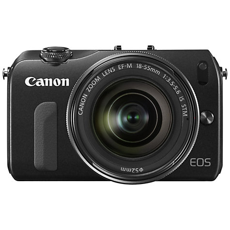 "Buy Canon EOS M Compact System Camera with 18-55mm EF-M Lens, HD 1080p, 18MP, 3"" Touch Screen, Black Online at johnlewis.com"