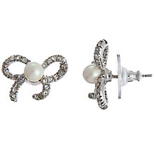 Buy Carolee Faux Crystal and Pearl Bow Stud Earrings, Silver Online at johnlewis.com