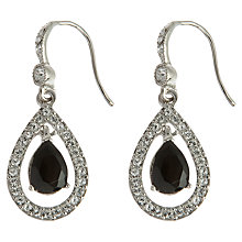 Buy Carolee Jet Crystal Teardrop Drop Earrings, Silver/Black Online at johnlewis.com