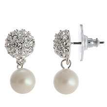 Buy Carolee Pave Crystal and Simulated Pearl Drop Earrings, Silver/White Online at johnlewis.com