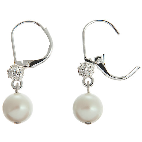 Buy Carolee Crystal and Pearl Linear Drop Earrings, White Online at johnlewis.com