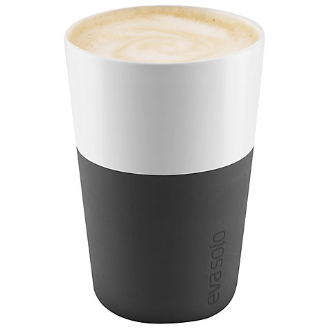Buy Eva Solo Cafe Latte Cups, Set of 2, 0.36L, Black/White Online at johnlewis.com